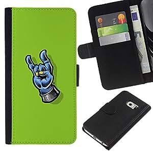 KLONGSHOP // Tirón de la caja Cartera de cuero con ranuras para tarjetas - Heavy Metal Mano - Samsung Galaxy S6 EDGE //