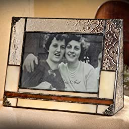 J Devlin Pic 320-46H Stained Glass 4x6 Picture Frame Horizontal Landscape Brown and Ivory Photo Frame