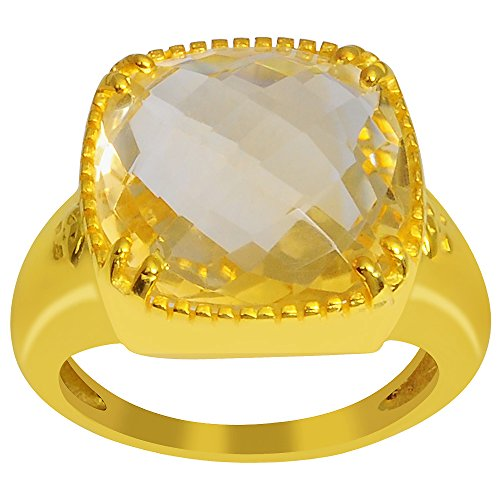 9k Gold Over Sterling Silver Citrine Ring (14X14MM Checkerboard Cushion) (9ct Gold Setting)