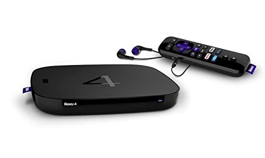 Roku 4 | HD and 4K UHD Streaming Media Player with Enhanced Remote (Voice Search, Lost Remote Finder, and Headphone),Quad-Core Processor,Dual-Band Wi-Fi, Ethernet, and USB Port (Certified Refurbished)