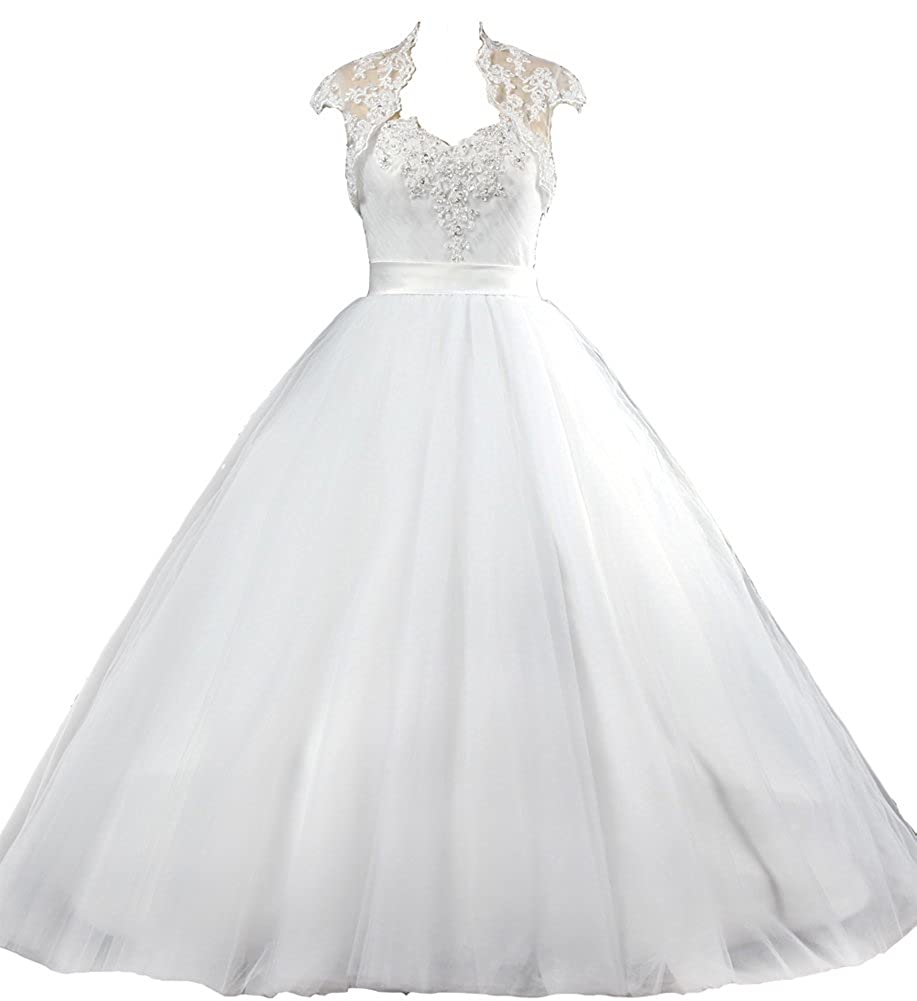 Ants Womens Tulle No Train Ball Gown Wedding Dress With Lace Bolero
