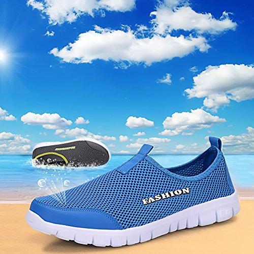 Sibba Männer & Frauen Runing Schuhe Atmungsaktive Mesh Slip-On Sneakers für Walking Jogging Outdoor Casual Sport Blau-1