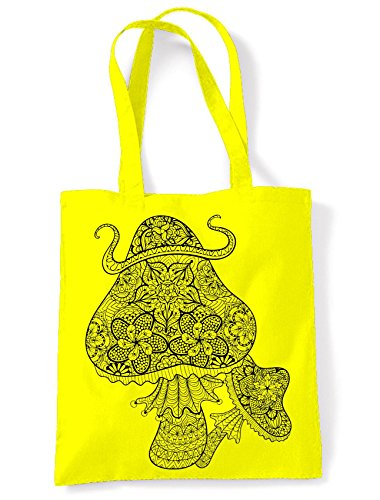 Bag Magic Tote Shopping Yellow Large Print Mushrooms Shoulder 77qZPFg