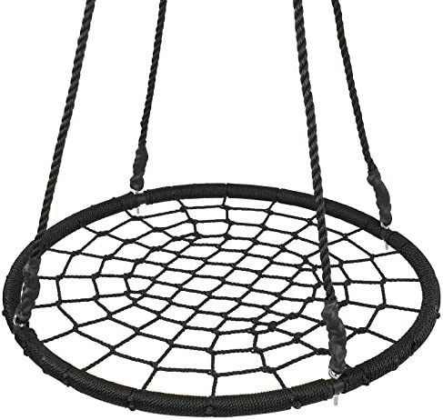 Super Deal XXL 48 Web Tree Swing Set – Largest Platform – 360 Rotate – 71 Adjustable Detachable Nylon Rope – Attaches to Trees or Swing Sets – for Multiple Kids or Adult 48