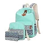 Tincon-Z Geometry Polka Dots Casual Canvas Bagpacks, Cute Lightweight Canvas Laptop Bag Shoulder Bag School Backpack (green)