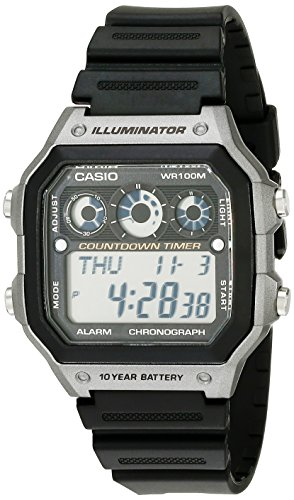 Casio Men's AE-1300WH-8AVCF Illuminator Digital Display Quartz Black - Watch Timer Countdown Digital