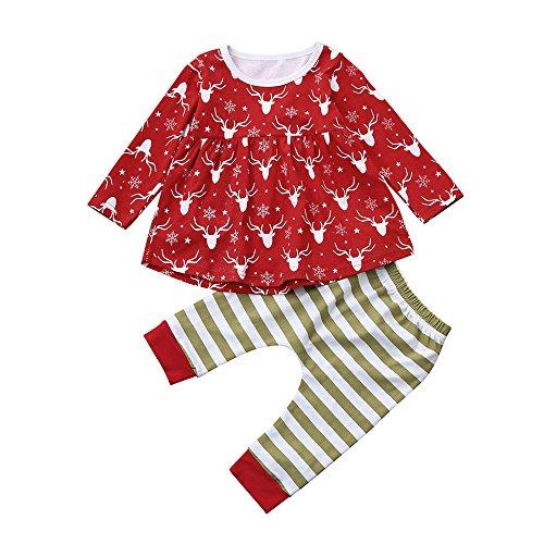 Sunenjoy 2 PCs Tout-petits Bébé Fille Cerf Princesse Robe + Pantalons Rayés Vêtements de Noël Ensemble