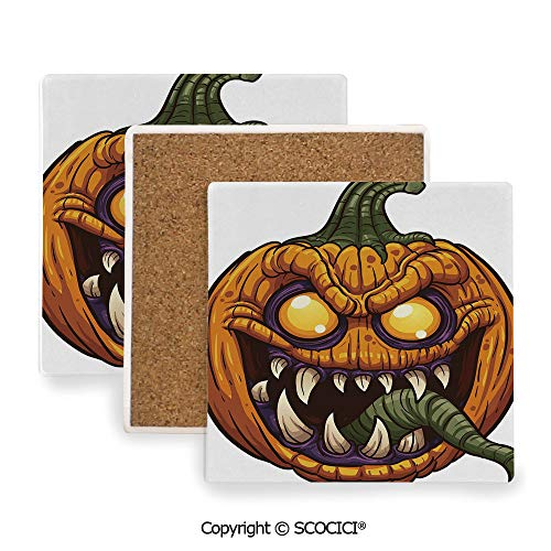 Ceramic Coaster With Cork Mat on the back side, Tabletop Protection for Any Table Type, Square coaster,Halloween,Scary Pumpkin Monster Evil Character with Fangs,3.9