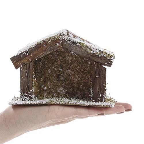 Factory Direct Craft Group of 4 Miniature Nativity Scene Stables with Snowy Accent For Holiday and Home Decor