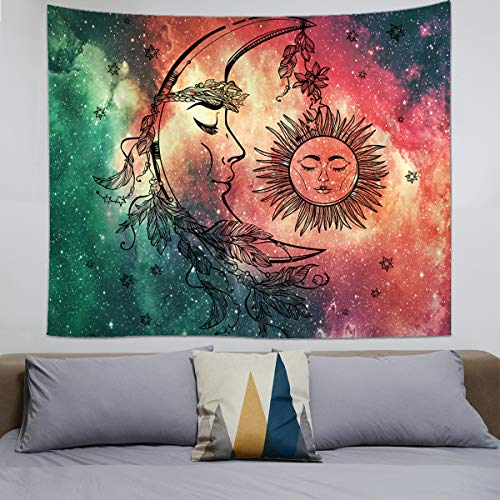 Psychedelic Tapestry Wall Hanging, Celestial Moon Sun Wall Tapestry, Hippie Wall Art Decoration for Bedroom Living Room Dorm, Window Curtain Picnic Mat Beach Blanket, 59