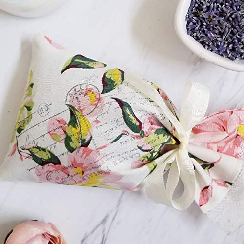 Lavender Sachet with Rose Petals, Refillable Spa Gift, Fragrant Potpourri Bag, Anxiety Relief, Thank You Gift - Peony Pattern ()
