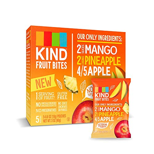 KIND Fruit Bites Fruit Snacks, Mango Pineapple Apple, No Sugar Added, Gluten Free, .6oz, 40 Count
