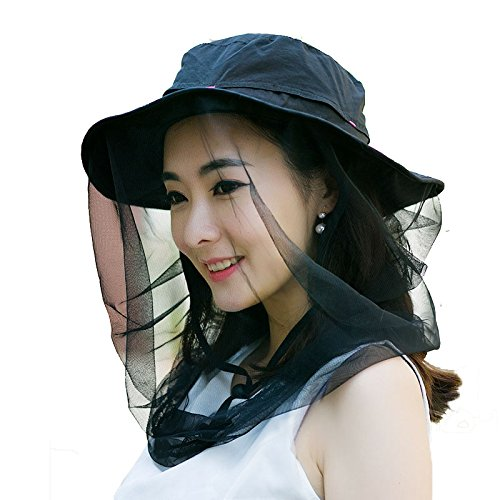 (Enkrio Outdoor Sun Hat Flap Hats UPF 50+ 360 Degree Solar Protection Sun Cap with Neck Face Mesh Mask Caps Anti-mosquito Hat Wide Brim for Women (Black))