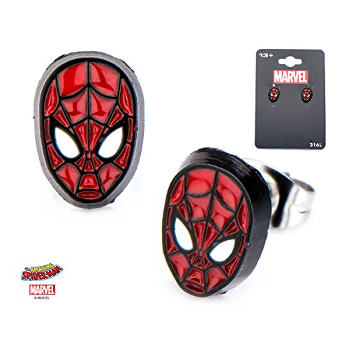 Golden Age Green Lantern Costume (Marvel Spider-Man Stainless Steel Post Stud Earrings w/Gift Box by Superheroes Brand)