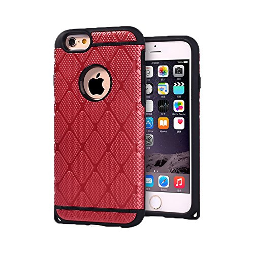 - YCAUN Case for iPhone 6 4.7inch TPU+Plastic Cool Rhombus Mesh Rugged Luxury Golden Armor Defender Cover Hybrid Shockproof Impact Resistant Drop Skin Slim Fit Thin Protective Shell [Wine Red]