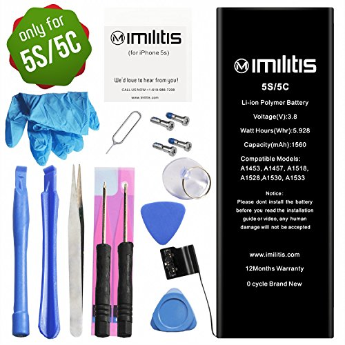 IMILITIS Battery for iPhone 5S/5C 3.82v 1560mAh Li-ion Polymer Mobile Phone Battery with All Repair Replacement Kit Tools Adhesive Strips and Instructions (12-Month Warranty)