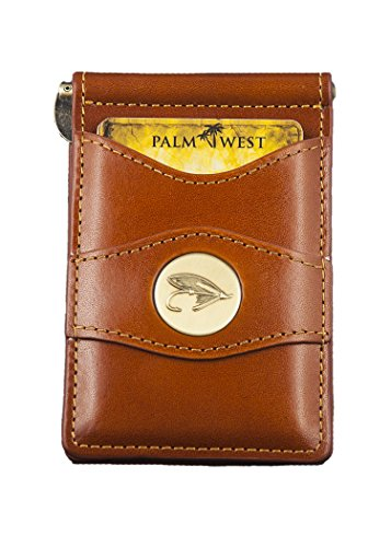 Leather Like Saddle - Palm West Leather Minimalist Leather Money Clip Wallet with RFID with Medallion (Saddle Tan, Trout Fly)