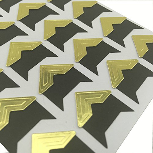 120pcs Self Adhesive Paper Photo Corner Stickers For Scrapbooking, Photo book, Personal Journal & Diary Adhesives (Gold/Black)