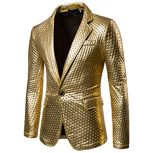 - iYBUIA Men's 2019 New Button Fashion Self-Cultivation and Bright-Faced Suit Pure Color Coat M-XXL Gold