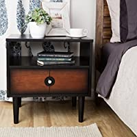 Rectangular End Table With Storage Drawer Side Table With Under Storage Shelf Room Décor Coffee Table Black Cocktail Table Furniture Table Top TV Table