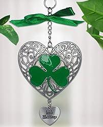 Hanging Green Shamrock - Metal Filigree Heart Design with Irish Shamrock and Engraved Heart Charm with the Saying Irish Blessings - Irish Gifts - St. Patrick's Day Decor - Shamrock Decorations