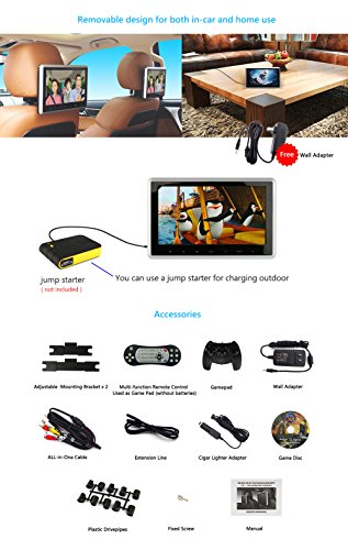 DDAUTO DD101HD Headrest DVD Player 10.1 Inch 1080P HD Digital TFT Screen Touch Keys Monitor Multimedia Choices Supports HDMI, USB SD card with Complete Accessories by DDAUTO (Image #6)
