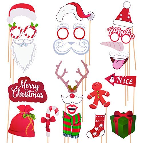 2019 New Christmas Photo Booth Props Kit 36 Pcs with Merry Christmas Banner for Xmas Decorations Theme Party Favors (Kids Xmas Party For Ideas)