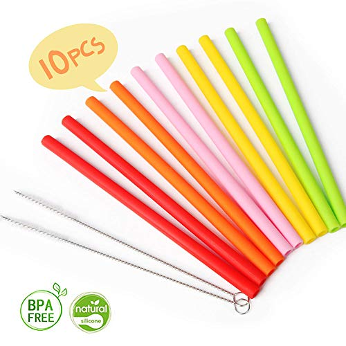 (Reusable Silicone Straws for Toddlers, Opret 10pcs Regular Size Kids Silicone Replacement Straws for Take n Toss Straw Cup, 10oz Yeti/Rtic/Lowball with Cleaning Brush)