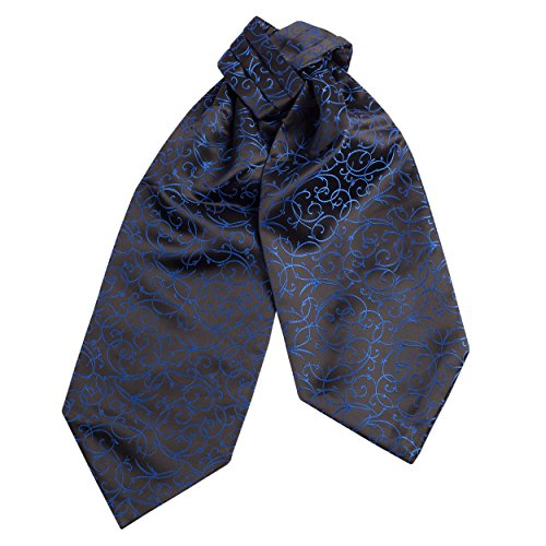CRT044-Mens Silk Feel Elegant Cravat Classic Ascot Tie in Electric Blue Classic (Electric Blue Long Tie)