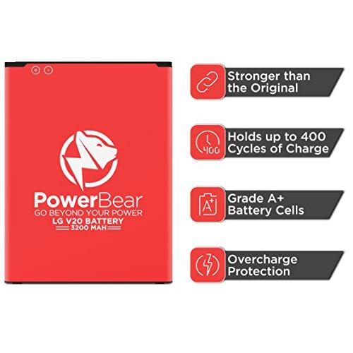 PowerBear LG V20 Battery [3200 mAh] Li-Ion Battery for The V20 [US996, AT&T  H910, T-Mobile H918, Verizon VS995, Sprint LS997] LGV20 Spare Battery