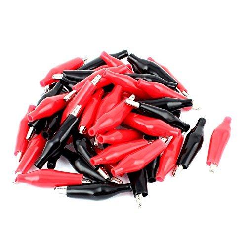 eDealMax 43 mm Longitud Negro Rojo ensayo de plásticos con aislamiento Pinzas cocodrilo Conector 50Pcs - - Amazon.com