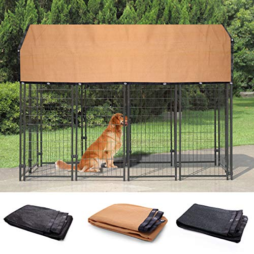 JAXPETY Outdoor Large Dog Kennel Covers Pet Crate Dog Cage Cover Sun Shades 6 x10 ft-Beige