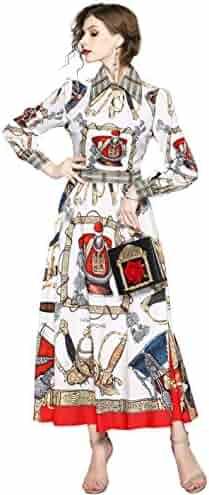 3cd44337ba3 Women s Vintage Paisley Print Long Sleeve Causal A-line Flowy Party Maxi  Dress
