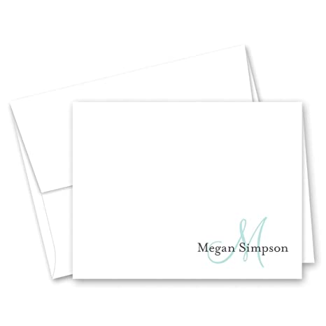 50 cnt personalized monogram folded note cards aqua - Personalized Folded Note Cards