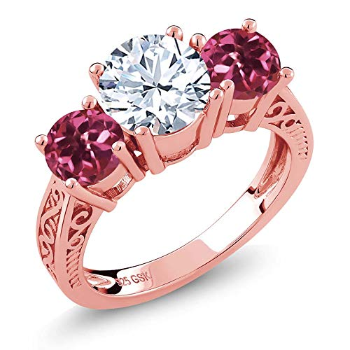 - Gem Stone King 2.40 Ct White Topaz Pink Tourmaline 18K Rose Gold Plated Silver 3-Stone Ring (Size 7)