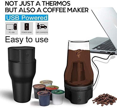 Machine à café, 500ML Cycle d'extraction Machine à café, Portable, USB Cafetière électrique Café mobile extérieure Capsule Machine Machine à café HUERDAIIT