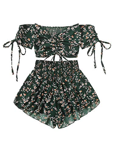 SheIn Women's Boho Floral Two Piece Outfit Off Shoulder Drawstring Crop Top and Shorts Set Large Green (Boho Crop)