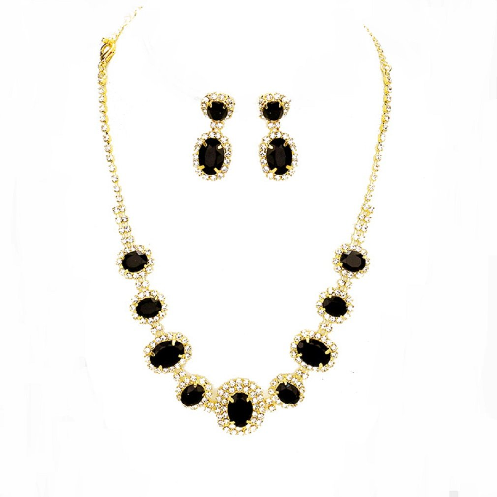 Black Clear Rhinestone Chic Gold Necklace Jewelry Earrings Set Prom Bride Pageant