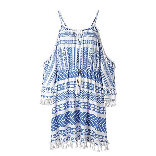 Price comparison product image BCDshop Women Casual Beach Dress Cold Shoulder Short Sleeve Tassel Sundress Baggy (Blue,  L)