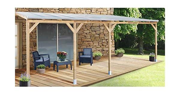 Chalet-Jardin Techo couv terraza madera 3 x 6, 8 - con tejado ...