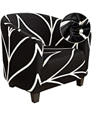 LASPERAL Tub Chair Covers for Armchairs, Polyester Smooth Fabric Armchair Covers Stretch Tub Chair Cover Removable Washable Sofa Couch Cover for Bar Counter Living Room Reception