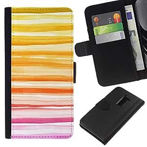 For LG G2 D800 Case , Yellow Sunset Summer Peach Lines - la tarjeta de Crédito Slots PU Funda de cuero Monedero caso cubierta de piel