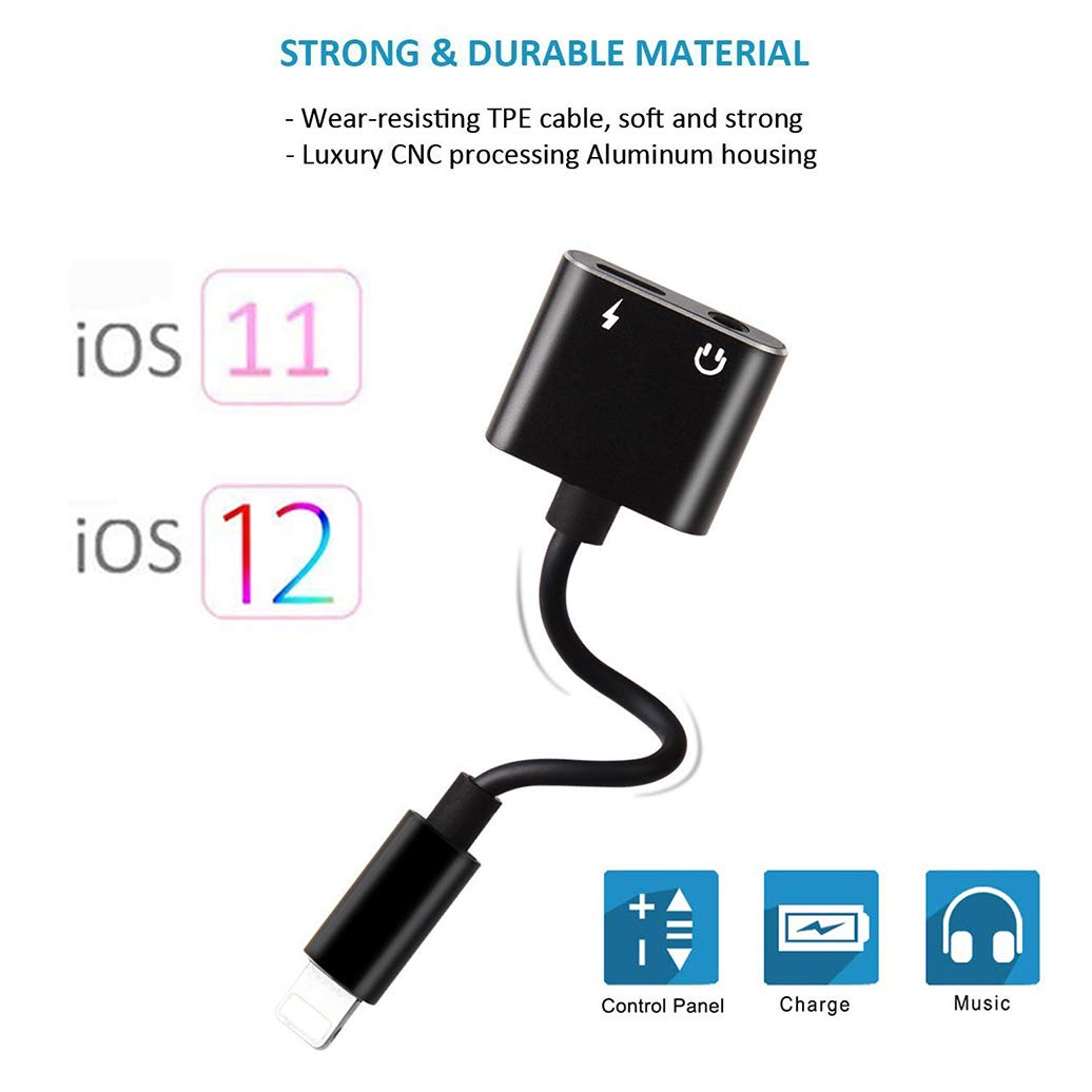 3.5 mm Jack Audio and Charge Adapter for iPhone X//10//XS//XS Max//XR//8//8 Plus//7//7 Plus Dongle Headphone Splitter Charger for iPhone Earphone Charge and Listen to Music for iPhone Aux Adapter Converter