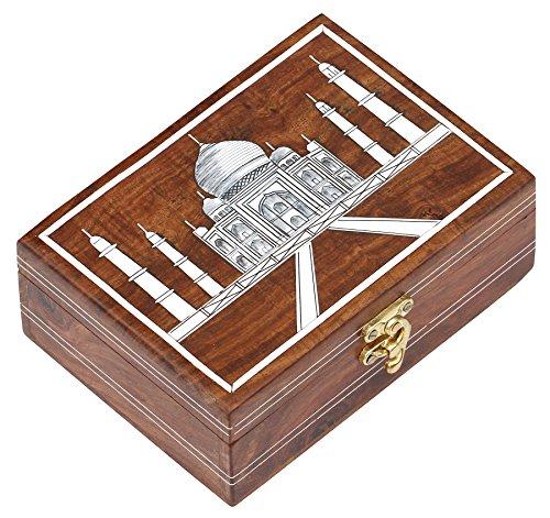 Decorative Keepsake Box: SouvNear SG-HSHPR-009 Wooden Taj Mahal Elephant Jewelry