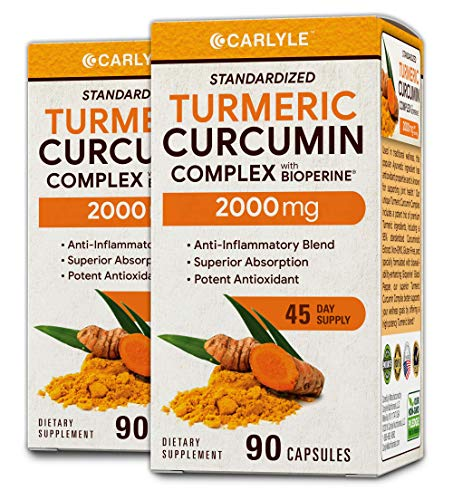 Turmeric Curcumin 2000 mg 180 Capsules - with 95% Standardized Curcuminoids and Bioperine. Pain Relief and Joint Support Non-GMO, Gluten Free, Turmeric Root Supplement Pills by Carlyle