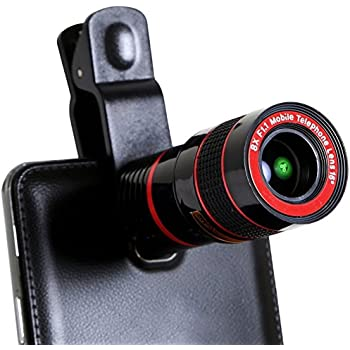 Universal 8X Zoom Detachable Clip-on Telescope Lens with Accessories for iPhone Samsung HTC LG Camer