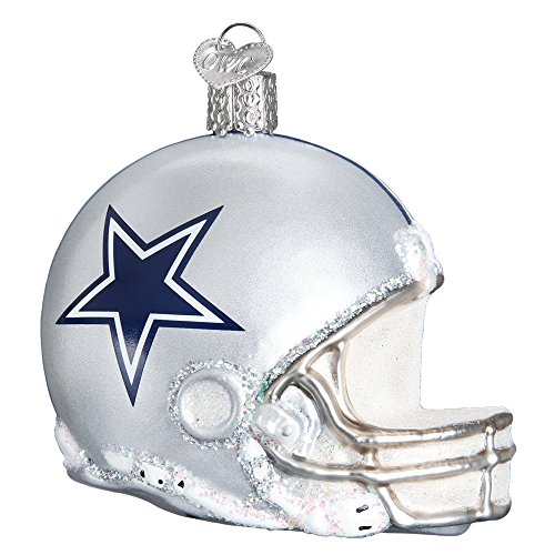 Old World Christmas Glass Blown Ornament with S-Hook, NFL Football Collection (Helmet, Dallas Cowboys)