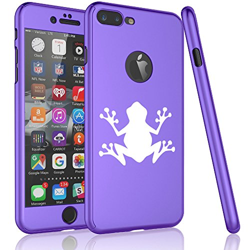 For Apple iPhone 360° Full Body Thin Slim Hard Case Cover + Tempered Glass Screen Protector Frog (Purple For iPhone 6 / 6s)