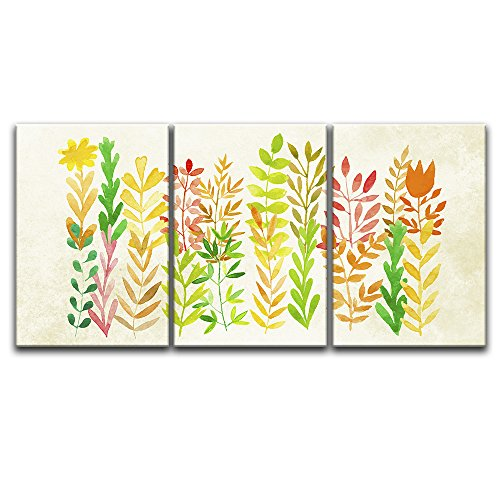3 Panel Watercolor Style Colorful Leaves Gallery x 3 Panels