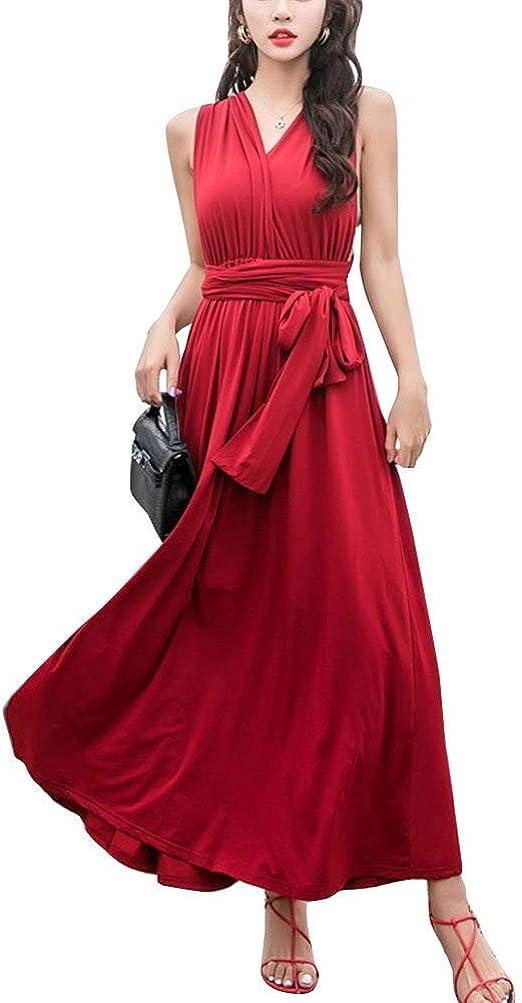 Señoras Estilo Coreano Boho Plisado Retro Maxi Falda Vestido De ...